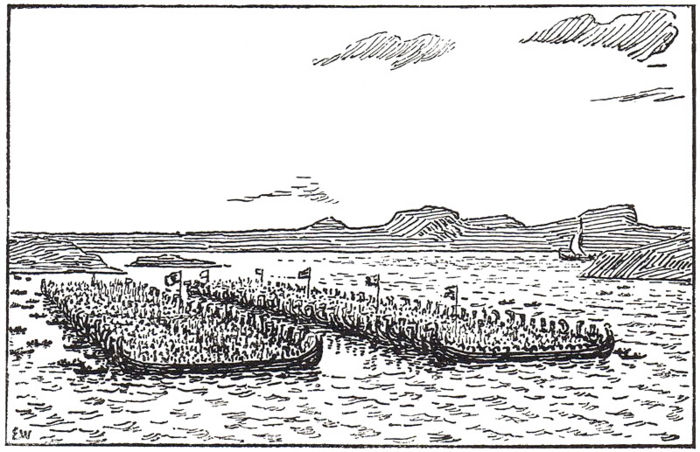 Erik Werenskiold  Harald og hans modstandere mødes i Hafsfjord 38bcd544154a6